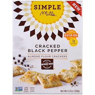 Simple Mills, Naturally Gluten-Free, Almond Flour Crackers, Cracked Black Pepper , 4.25 oz (120 g)