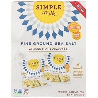 Simple Mills, Naturally Gluten-Free, Almond Flour Crackers, Fine Ground Sea Salt, 6 Packs, 0.8 oz (23 g) Each