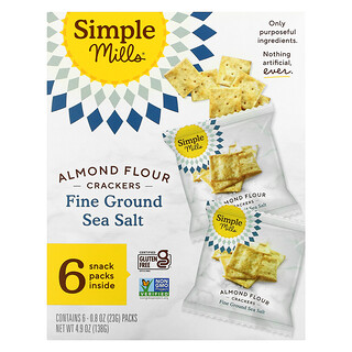 Simple Mills, Naturally Gluten-Free, Almond Flour Crackers, Fine Ground Sea Salt, 6 Packs, 0.8 oz (23 g) Each