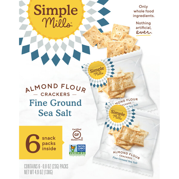 Naturally Gluten-Free, Almond Flour Crackers, Fine Ground Sea Salt, 6 Packs, 0.8 oz (23 g) Each