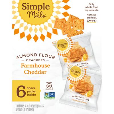 Купить Simple Mills Натуральные безглютеновые крекеры с миндальной мукой, фермерский чеддер, 6 упаковок, по 0, 8 унции (23 г) каждая