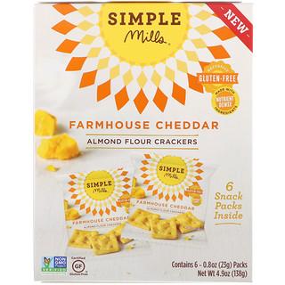Simple Mills, Натуральные безглютеновые крекеры с миндальной мукой, фермерский чеддер, 6 упаковок, по 0,8 унции (23 г) каждая