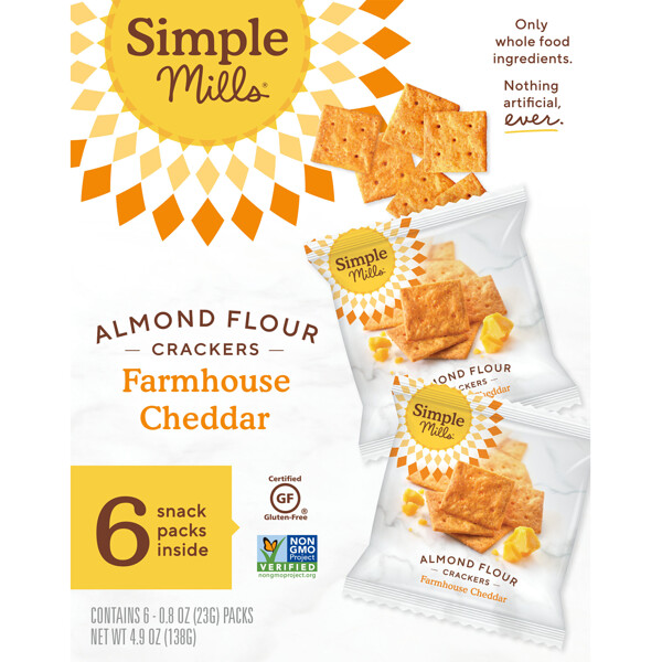 Naturally Gluten-Free, Almond Flour Crackers, Farmhouse Cheddar, 6 Packs, 0.8 oz (23 g) Each