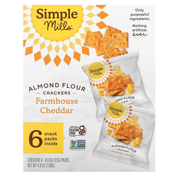 天然无麸质,巴旦木粉饼干,农庄切达乳酪,6 包,每包 0.8 盎司(23 克)
