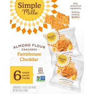 Simple Mills, Naturally Gluten-Free, Almond Flour Crackers, Farmhouse Cheddar, 6 Packs, 0.8 oz (23 g) Each отзывы