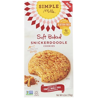 Simple Mills, Naturally Gluten-Free, Soft Baked Cookies, Snickerdoodle, 6.2 oz (176 g)