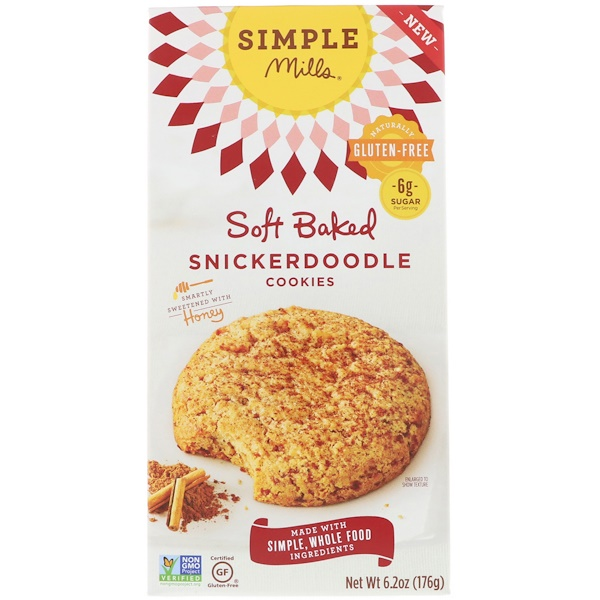 Simple Mills, Naturally Gluten-Free, Soft Baked Cookies, Snickerdoodle, 6.2 oz (176 g) (Discontinued Item)