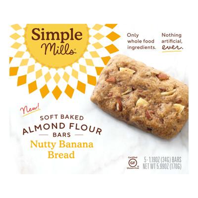 Simple Mills Мягкие батончики из миндальной муки, банановый хлеб с орехами, 5батончиков по 34г (1, 19унции)  - купить со скидкой