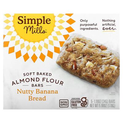 Купить Simple Mills Мягкие батончики из миндальной муки, банановый хлеб с орехами, 5батончиков по 34г (1, 19унции)