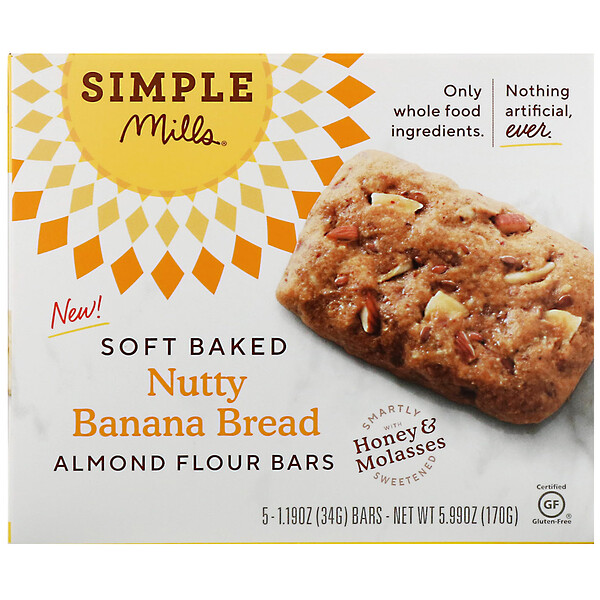 Simple Mills, Soft-Baked Almond Flour Bars, Nutty Banana Bread, 5 Bars, 1.19 oz (34 g) Each