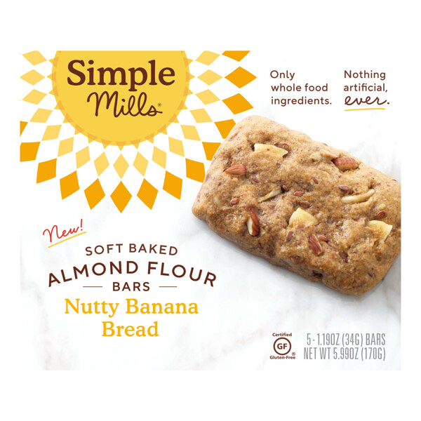 Soft-Baked Almond Flour Bars, Nutty Banana Bread, 5 Bars, 1.19 oz (34 g) Each