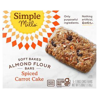 Simple Mills, Soft Baked Almond Flour Bars, Spiced Carrot Cake, 5 Bars,  1.19 oz (34 g) Each