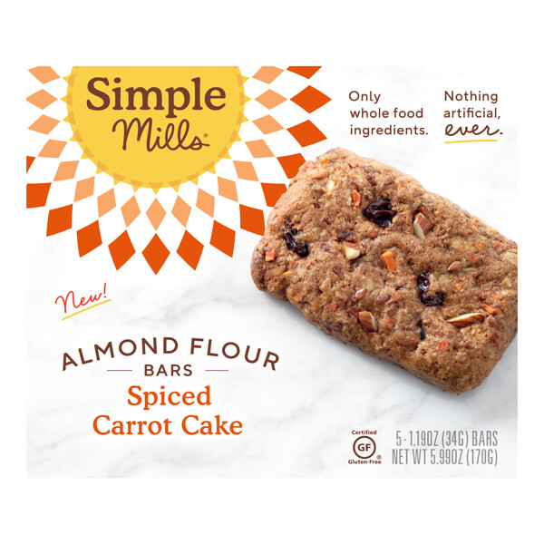 Simple Mills, Soft-Baked Almond Flour Bars, Spiced Carrot Cake, 5 Bars,  1.19 oz (34 g) Each
