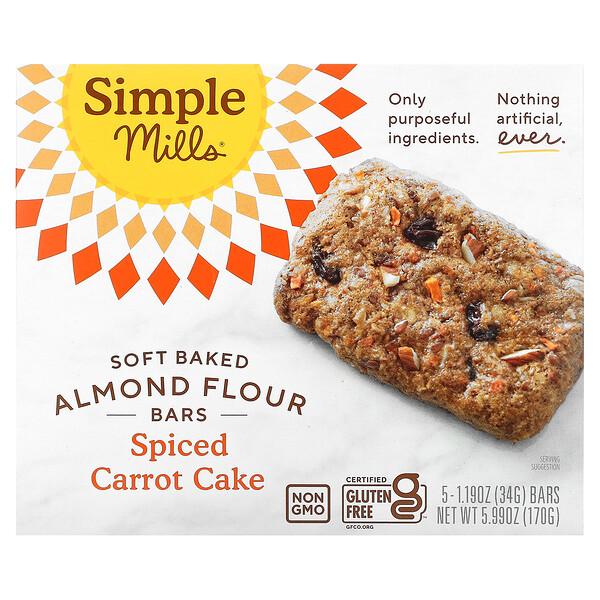 Simple Mills, Barritas de harina de almendra horneadas suavemente, Pastel de zanahorias especiado, 5barritas, 34g (1,19oz) cada una