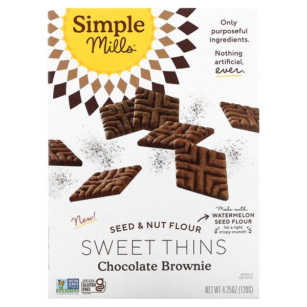 тонкое шоколадное печенье брауни, с мукой из орехов и семян, 120г (4,25унции)