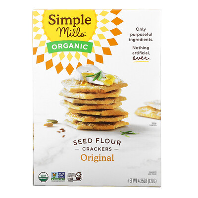 Simple Mills Organic Seed Flour Crackers, Original, 4.25 oz (120 g)