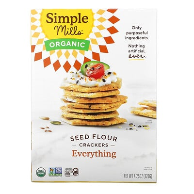 Simple Mills Organic Seed Flour Crackers, Everything, 4.25 oz (120 g)