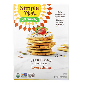 Simple Mills, Organic Seed Flour Crackers, Everything, 4.25 oz (120 g)'
