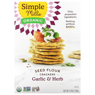 Купить Simple Mills Organic Seed Flour Crackers, Garlic & Herb, 4.25 oz (120 g)