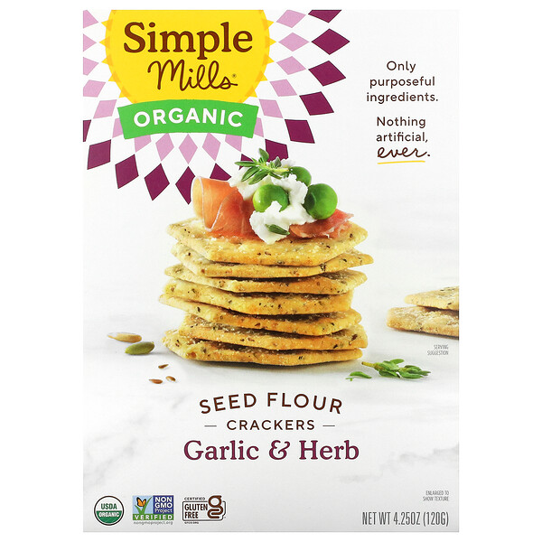 Organic Seed Flour Crackers, Garlic & Herb, 4.25 oz (120 g)