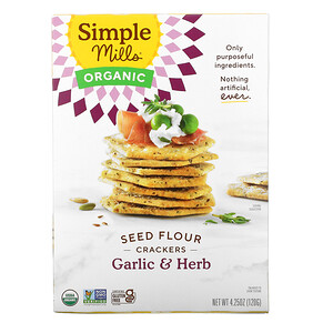 Simple Mills, Organic Seed Flour Crackers, Garlic & Herb, 4.25 oz (120 g)'