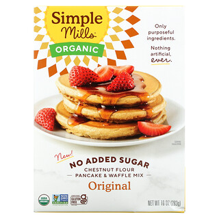 Simple Mills, Organic Chestnut Flour Pancake & Waffle Mix, Original, No Added Sugar, 10 oz (283 g)
