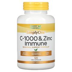 Super Nutrition, SimplyOne, C-1000 та цинк для імунітету, 120вегетаріанських капсул