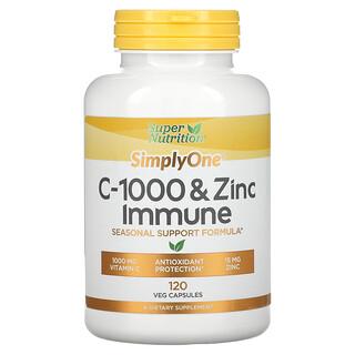 Super Nutrition, SimplyOne, C-1000 & Zinc Immune, Unterstützung für das Immunsystem 120pflanzliche Kapseln