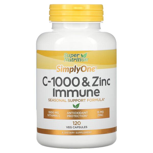 SimplyOne، فيتامين جـ-1000 وزنك لدعم الجهاز المناعي، 120 كبسولة نباتية