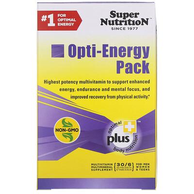 Super Nutrition Набор Opti-Energy, мультивитаминно-минеральная добавка, 30 пакетиков по 6 таблеток