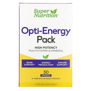 Super Nutrition, Opti-Energy, Suplemento multivitamínico y mineral para una energía óptima, 30sobres, 6comprimidos cada uno