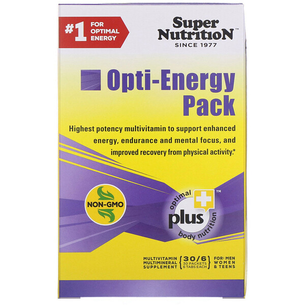 Super Nutrition, Opti-Energy Pack, MultiVitamin/Multimineral Supplement, 30 Packets, (6 Tabs Each)