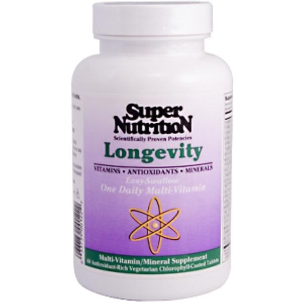 Super Nutrition, Longevity, 60 Veggie Tabs (Discontinued Item)