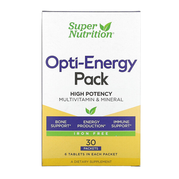 Super Nutrition, オプチ-エネルギーパック、マルチビタミン/ミネラルサプリメント、鉄分不使用、30袋入り(各6錠入り)