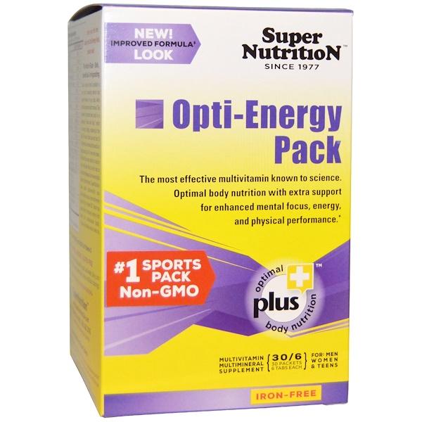 Super Nutrition, 옵티-에너지 팩, 멀티비타민/미네랄 보충제, 아이언 프리, 30 패킷 (각각 6 탭) (Discontinued Item)