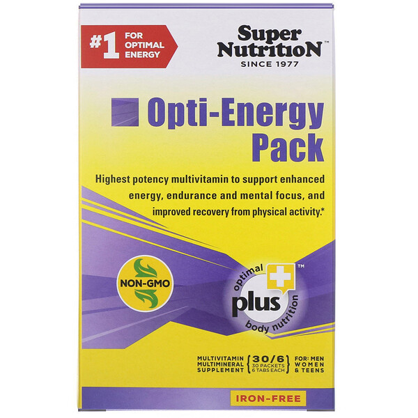 Super Nutrition, Opti-Energy Pack, Multivitamin/Mineral Supplement, Iron-Free, 30 Packets (6 Tabs Each)
