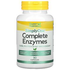 Super Nutrition, SimplyOne, Enzimas completas, 90cápsulas