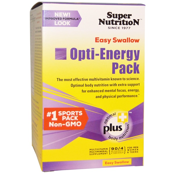 Super Nutrition, Opti-Energy Pack, Multivitamin/Multimineral Supplement, 90 Packets, (4 Tabs Each) (Discontinued Item)