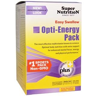 Super Nutrition, オプティ-エネルギーパック, マルチビタミン/ミネラルサプリメント, 鉄フリー, 90 パケット(各 4 錠)