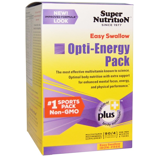 Opti-Energy Pack, Multivitamin/Multimineral Supplement, Iron-Free, 90 Packets, (4 Tabs Each)
