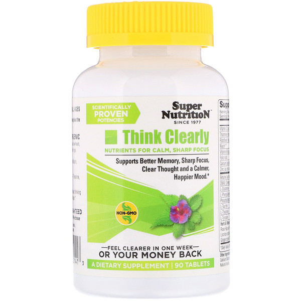Super Nutrition, Think Clearly, 90 Tablets
