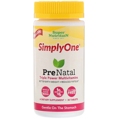 Super Nutrition SimplyOne, PreNatal, Triple Power Multivitamins, 30 Tablets