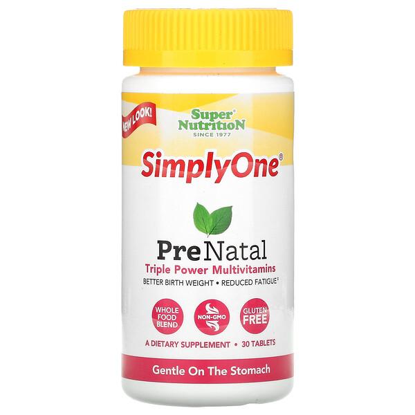 SimplyOne, PreNatal, Triple Power Multivitamins, 30 Tablets