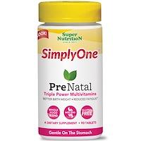 Simply One, пренататльные, тройные мощные мультивитамины, 90 таблеток - фото