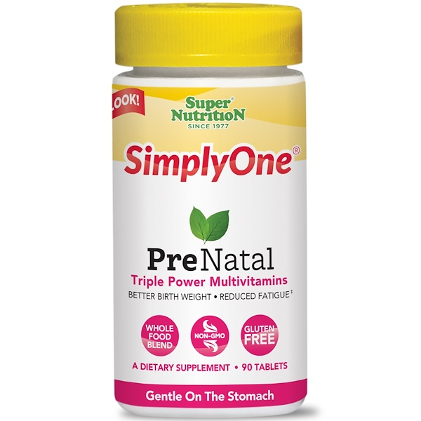 SimplyOne, PreNatal, Triple Power Multivitamins, 90 Tablets