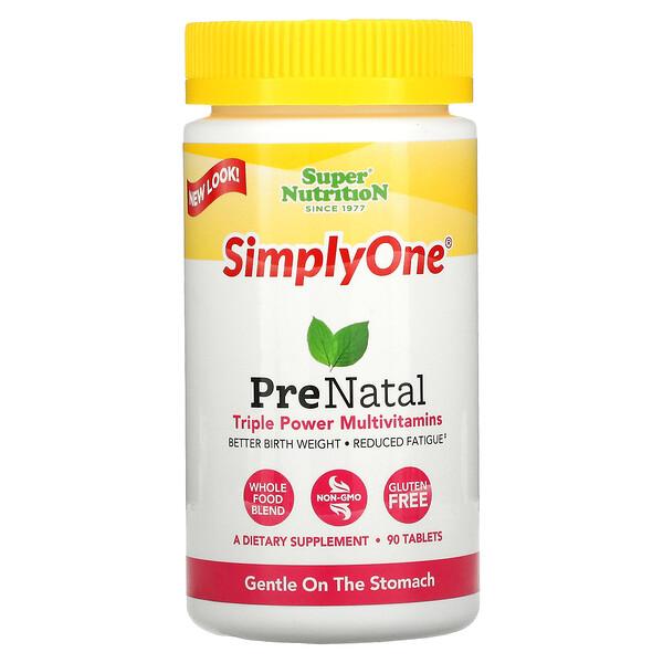 SimplyOne, PreNatal, Multivitaminas triple potencia, 90 tabletas