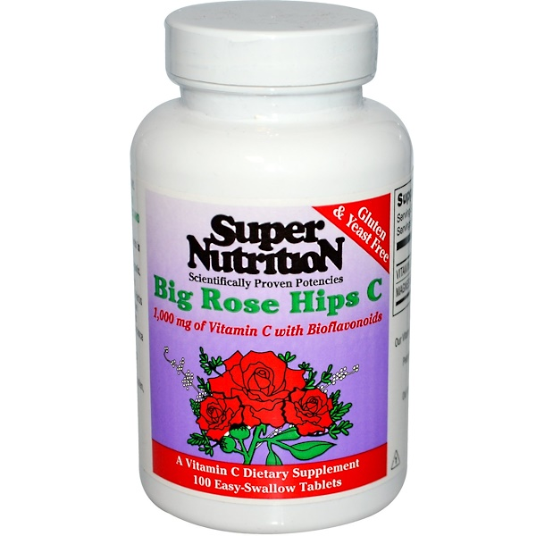 Super Nutrition, Big Rose Hips C, 100 Easy-Swallow Tablets (Discontinued Item)