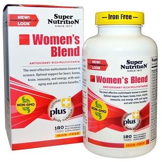 Super Nutrition, 女性用 ブレンド、 鉄 不使用、 180 タブレット