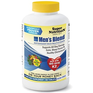 Super Nutrition, Men's Blend, Antioxidant Rich Multivitamin, Iron Free, 180 Tablets