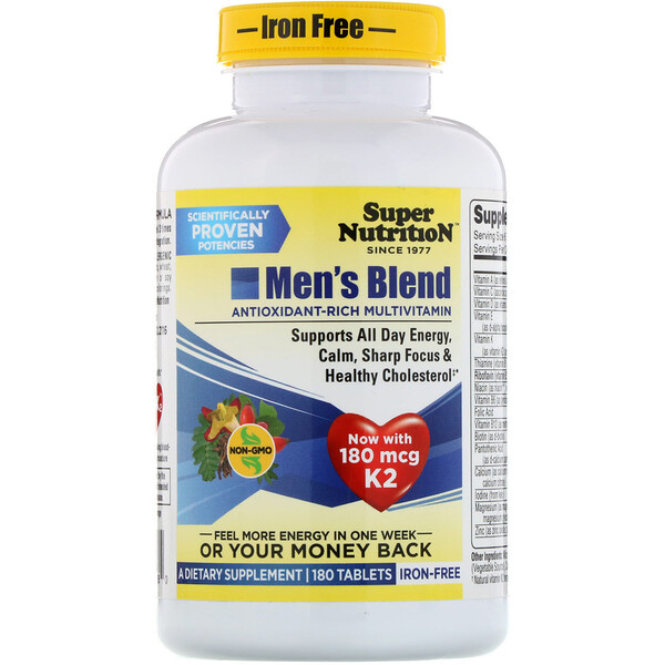 Super Nutrition, Men's Blend, multivitaminas ricas en antioxidantes, sin hierro, 180 comprimidos